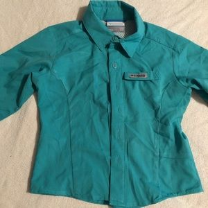 COLUMBIA girl shirt xxs 4/5 long sleeve fishing